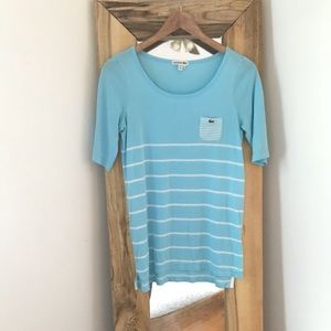 Lacoste Blue Pocket Stripe Quarter Sleeve Tee 42